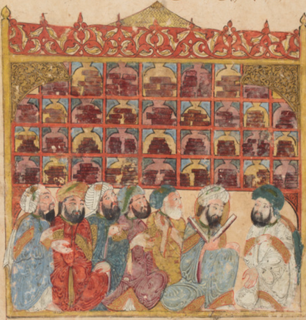 """Goldenes Zeitalter"": Reger Wissensaustausch in mittelalterlichen arabischen und persischen Kulturen. Illustration: Maqamat of al-Hariri, 1237 AD, illustrated by Yahya ibn Mahmud al-Wasiti, original manuscript in the National Library of France."